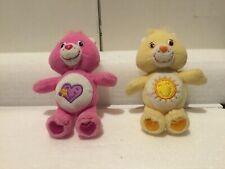 """Lot Of 2. 2004 Care Bear Clip Keychain 5"""" LOVE-A-LOT & Funshine Bear 2002"""