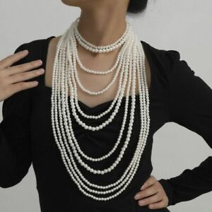 Vintage Style Jewelry Imitation Pearl Tassel Necklace Handmade  Long Beaded