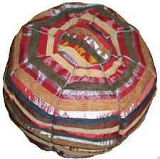 Fairtrade Moroccan Woven Sabra Cactus Silk Textile Pouffe Beanbag Cover Striped