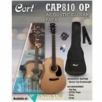 Cort CAP810 Acoustic Guitar open Pore Guitar Pack w/ Bag Picks Strap & Tuner