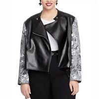 Rachel Rachel Roy Women's Charlie Moto Floral Jacket Black Size 1X Plus Full-Zip