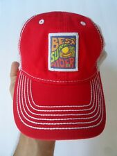 BEST SURF RIDER IN THE WORLD BASEBALL TRUCKER RED & WH. HAT CAP ADJUSTABLE, OSFA