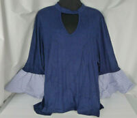 Heart Soul Women's Plus Size 3X Top Ruffled Flared Bell Sleeve Ribbed Keyhole