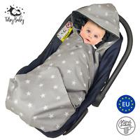 Einschlagdecke für Babyschale Maxi Cosi Kinderwagen Decke Babydecke Fußsack grau