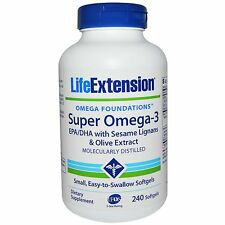 Super, Omega - 3 EPA/DHA con Sésamo Lignanos & Olive Extracto de Fruta, 240 Cápsulas