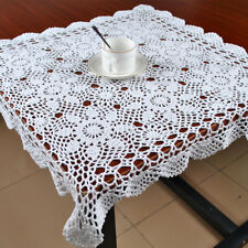 White Vintage Hand Crochet Lace Tablecloth Square Cotton Table Cloth Topper 23""