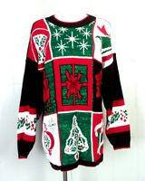vtg 80s 90s Nutcracker Metallic Ugly Christmas Sweater Busy sz L