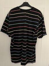 Mens M&S Black Striped pyjama Tshirt And Pyjama Shorts Size Medium
