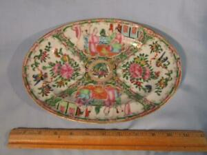 ANTIQUE CHINESE EXPORT ROSE MEDALLION OVAL 10 INCH PLATTER TRAY