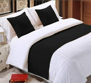 3 PC Bed Runner Scarf Set Ultra Soft Egyptian Cotton 1000 TC US Size & Colors