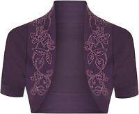 Womens Cotton Sequin Beaded Cap Short Sleeve Shrug Bolero Cardigan Top Size 8-26