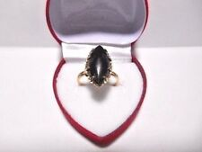 VINTAGE 14K. YELLOW GOLD LARGE JADE MARQUISE SHAPE LADIES RING  SIZE 6-1/2 SEMCO