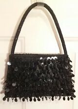 Bijoux Terner Small Black Sequins & Beaded Evening Bag Purse with Beaded Handle
