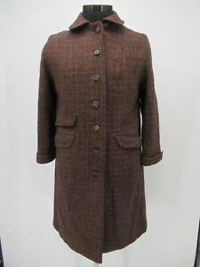 P4330 VTG Women's Harris Tweed Plaid 100% Scottish Wool Long Coat