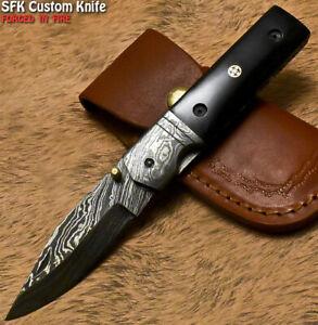 SFK Unique Handmade Damascus Steel Bull Horn Hunting Folding Knife Liner Lock