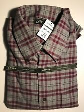 ORVIS Luxury Flannel Long Sleeve Men's Button Down Shirt / Red-Grey LARGE $139