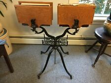 "Rare Double-Sided ""Columbia"" Victorian Dictionary Bible Stand Cast Iron Oak"
