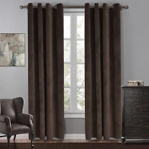 Velvet Thermal Blackout Curtain Window Drapes Panel for Living Room Eyelets Home