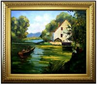 Framed Quality Hand Painted Oil Painting Boating 20x24in