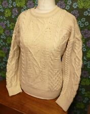 Vintage Cream Aran Knitted Traditional Cable Irish Wool Pullover / Jumper Sz S