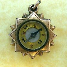 Antique Art Nouveau French Gold Filled Star Compass Charm Lovely Engraved Daisy