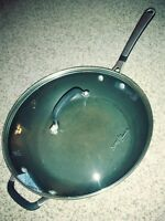 "Simply Calphalon Nonstick 12"" Jumbo Deep Fry Pan 12-inch with lid"