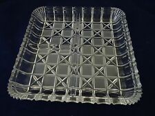 """INDIANA GLASS CLEAR BLOCK & STARS 3 PART RELISH PLATE/TRAY-7 1/8"""" SQUARE-LKN"""