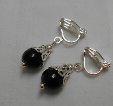 Unique Handmade Black Onyx Clip on Earrings Silver Plated Oval Beads