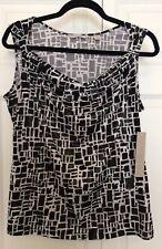 Laura Ashley Petite Large Black White Geo Cowl Neck Sleeveless Tank Top Camisole