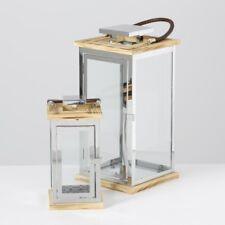 Laterne Glas Edelstahl Kerzenhalter Deko modern H24cm und H37cm 2er Set silber