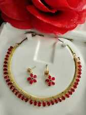 Indian Pakistani Bollywood American Diamond Necklace  Gold Tone Party Wear