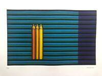 KAZUHISA HONDA Signed Mezzotint Three Pencils 1983