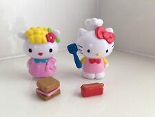 Hello Kitty Figure Lot of 2 Chef BBQ Baker Picnic Hot Dog Sandwich Plastic Mini