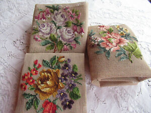 Vintage Bucilla Needlepoint Chair Seat Covers 3 20x20 Flowers Started Needlework