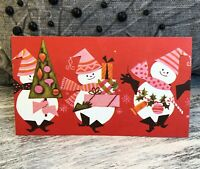 1Vintage Retro 3 Snowmen w/Presents & Tree Hawthorne Christmas Greeting Card NOS