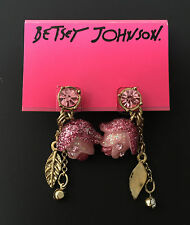NWT Rare Betsey Johnson Rose Pink Tulip Flowers Drop Dangle Gold Earrings