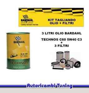 Set Entretien 3 Litres Huile Bardahl + 3 Filtres Fiat 500 1.2 51 Kw 69 Cv