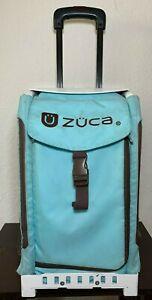 """Zuca Sport Baby Blue Insert White Frame 17"""" Roller Light Wheels Luggage"""