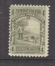 NEWFOUNDLAND, 1897 Caribou Hunting, 4c. Olive Green, heavy hinged.