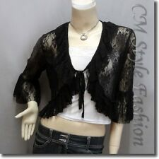 * Front Tie Lace Shrug Cropped Bolero Cardigan Topper Black M