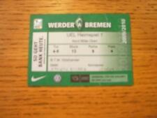 Billete De 01/10/2009: Werder Bremen v Athletic Bilbao Europa Liga [] (leve roto)