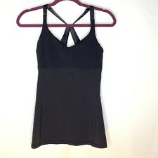 Lululemon Practice Daily Black Athletic Top Tunic Racerback Satin Straps size 6
