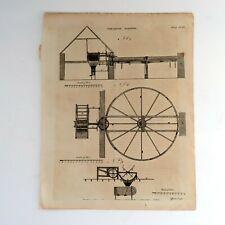 18th Century Engraving of Threshing Machine Drawing   Farm Machinery Technology
