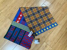 Burberry Kids Check Canvas Stars blue scarf $280.00 new with tags
