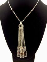 Crystal Tassle Crown Necklace Clear Purple Crystals Design Silver Toned Chain