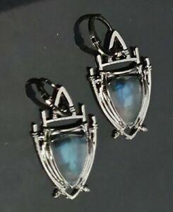 Ohrringe 925 Silber ca 4 cm lang mit blauem Stein