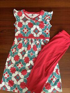 Tea Collection Pink And Teal Blue Geometric Pattern Dress Capri Leggings 10 12