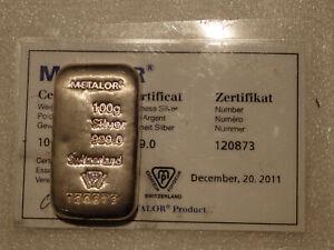 METALOR 100G 999,0 SILVER BAR WITH CERT 120873