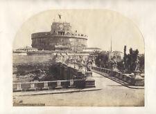 ORIGINAL VINTAGE ALBUMEN PHOTOGRAPH OF SAINT ANGELO BRIDGE - ROME, ITALY