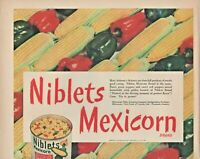1947 Niblets Mexicorn Brand Vintage Print Ad Canned Vegetables Corn And Peppers